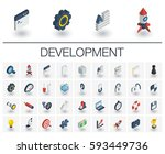 isometric flat icon set. 3d... | Shutterstock .eps vector #593449736