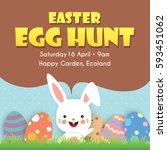 easter egg hunt poster ... | Shutterstock .eps vector #593451062