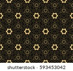 seamless ornamental pattern.... | Shutterstock .eps vector #593453042