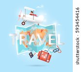 world travel by plane. planning ... | Shutterstock .eps vector #593454416