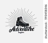 the adventure begins hand... | Shutterstock .eps vector #593458346