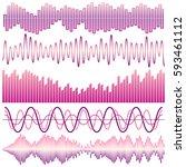 vector set of sound waves....   Shutterstock .eps vector #593461112