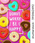 donuts with donut worry be... | Shutterstock .eps vector #593462492