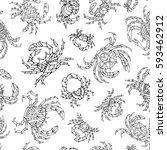 doodles seamless crabs pattern. ... | Shutterstock .eps vector #593462912