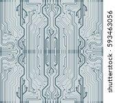 vector flat circuit board... | Shutterstock .eps vector #593463056