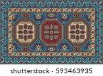 colorful oriental mosaic kazak...   Shutterstock .eps vector #593463935
