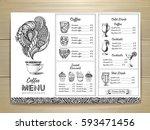 vintage coffee menu design | Shutterstock .eps vector #593471456