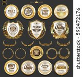 golden badges and labels with... | Shutterstock .eps vector #593472176