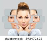 aging. mature woman young woman.... | Shutterstock . vector #593472626