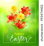 easter background with spring... | Shutterstock .eps vector #593474402