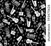 jazz music vector seamless... | Shutterstock .eps vector #593475626