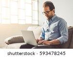 handsome businessman in... | Shutterstock . vector #593478245