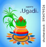 happy ugadi and gudi padwa... | Shutterstock .eps vector #593479526