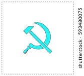ussr outline vector icon with... | Shutterstock .eps vector #593480075