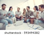 business people are using... | Shutterstock . vector #593494382
