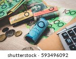 money  australian dollars  aud  ... | Shutterstock . vector #593496092