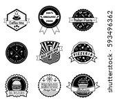 set of vintage different... | Shutterstock .eps vector #593496362
