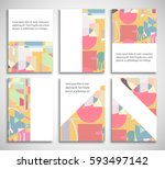 set of a4 cover  abstract... | Shutterstock .eps vector #593497142