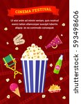 vector flat movie elements with ... | Shutterstock .eps vector #593498606