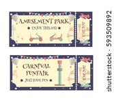amusement park and carnival... | Shutterstock .eps vector #593509892