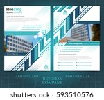 two sided brochure or flayer... | Shutterstock .eps vector #593510576