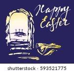 easter  jesus christ rose from... | Shutterstock .eps vector #593521775