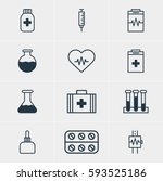 illustration of 12 medicine... | Shutterstock . vector #593525186