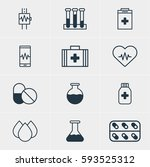 illustration of 12 health icons.... | Shutterstock . vector #593525312