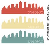 San Diego Skyline Silhouette...
