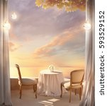 romantic breakfast at dawn.... | Shutterstock . vector #593529152