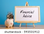 Small photo of Financial Advice, financial concept. Mason jar with coins inside, piggy bank and whiteboard on wooden table.