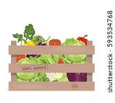 wooden crate of farm fresh... | Shutterstock .eps vector #593534768