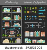 elements of modern city night.... | Shutterstock . vector #593535008