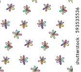 seamless pattern of flowers... | Shutterstock .eps vector #593535536