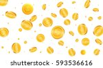 gold coins background. flying... | Shutterstock .eps vector #593536616