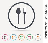 food icons. fork and spoon... | Shutterstock .eps vector #593539856