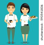 the guy and the girl waiters.... | Shutterstock .eps vector #593541836