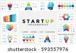 vector arrows startup... | Shutterstock .eps vector #593557976