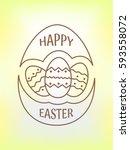 happy easter logo  emblem  icon ... | Shutterstock .eps vector #593558072