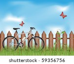 summer background with a bike....
