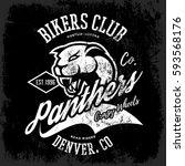 vintage american panther bikers ... | Shutterstock .eps vector #593568176