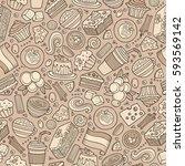 cartoon cute hand drawn italian ... | Shutterstock .eps vector #593569142