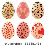 a set of colored easter eggs....   Shutterstock .eps vector #593581496