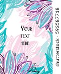 card with painted flowers in... | Shutterstock .eps vector #593587718