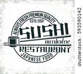 vintage sushi bar logo design   ... | Shutterstock .eps vector #593590142