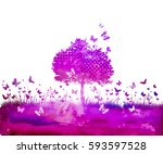 Stock vector watercolor nature tree and butterflies vector 593597528