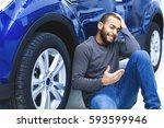 no money left  young african... | Shutterstock . vector #593599946