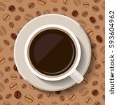 cup of coffee on patterned... | Shutterstock .eps vector #593604962
