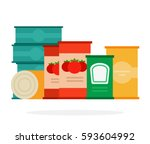 tomato sauce and soup in cans...   Shutterstock .eps vector #593604992