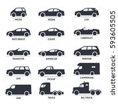 Stock vector car type and model objects icons set automobile vector black illustration isolated on white 593605505